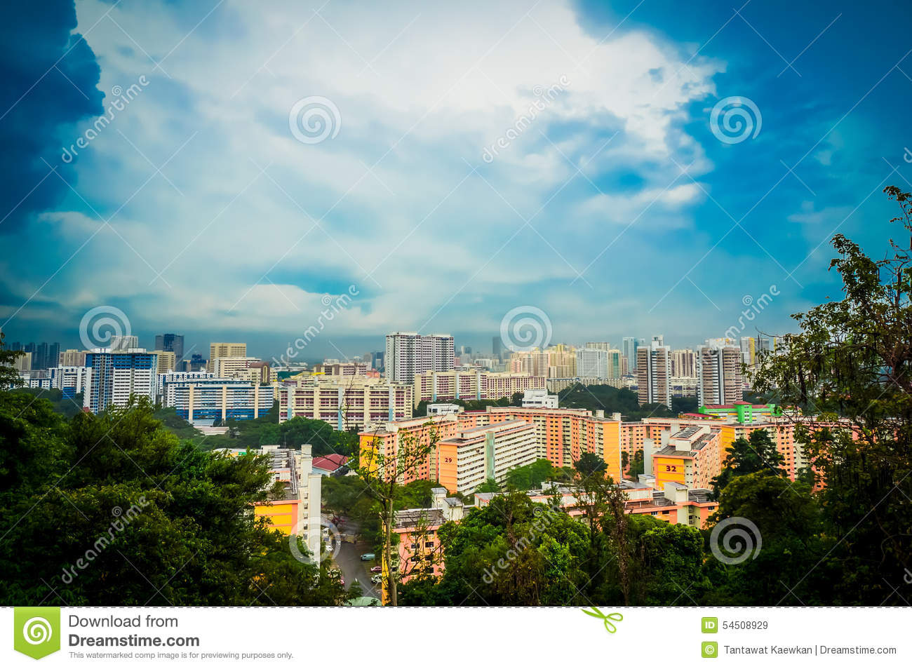 Singapore Residential Estate Scape Stock Image - Image of