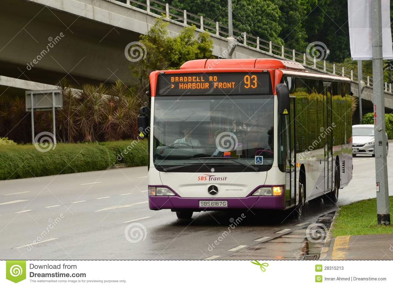 singapore sbs public bus on road approaches bus stop editorial stock photo image 28315213. Black Bedroom Furniture Sets. Home Design Ideas