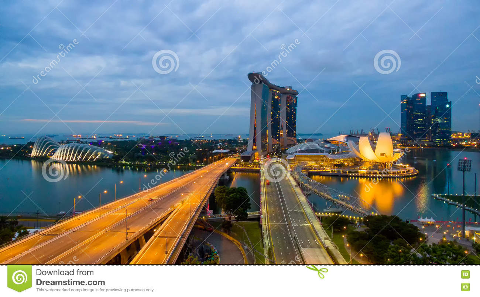Singapore,Singapore – July 2016 : Aerial view of Singapore city skyline in sunrise or sunset at Marina Bay, Singapore