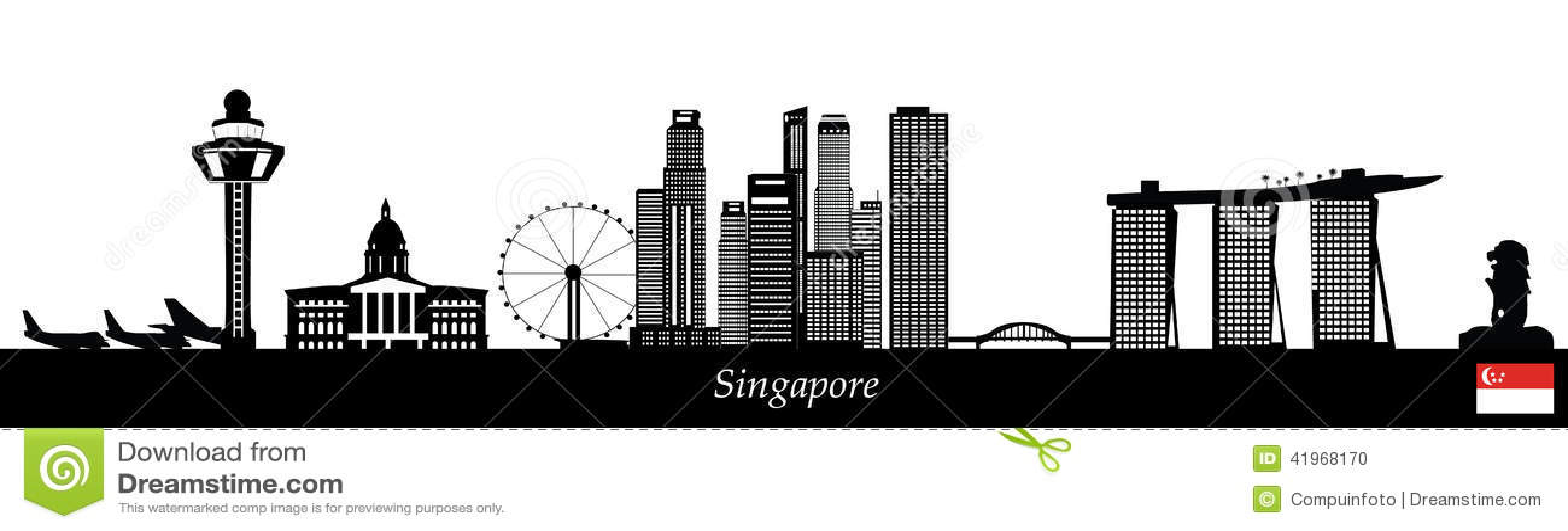 Singapore skyline stock vector image 41968170