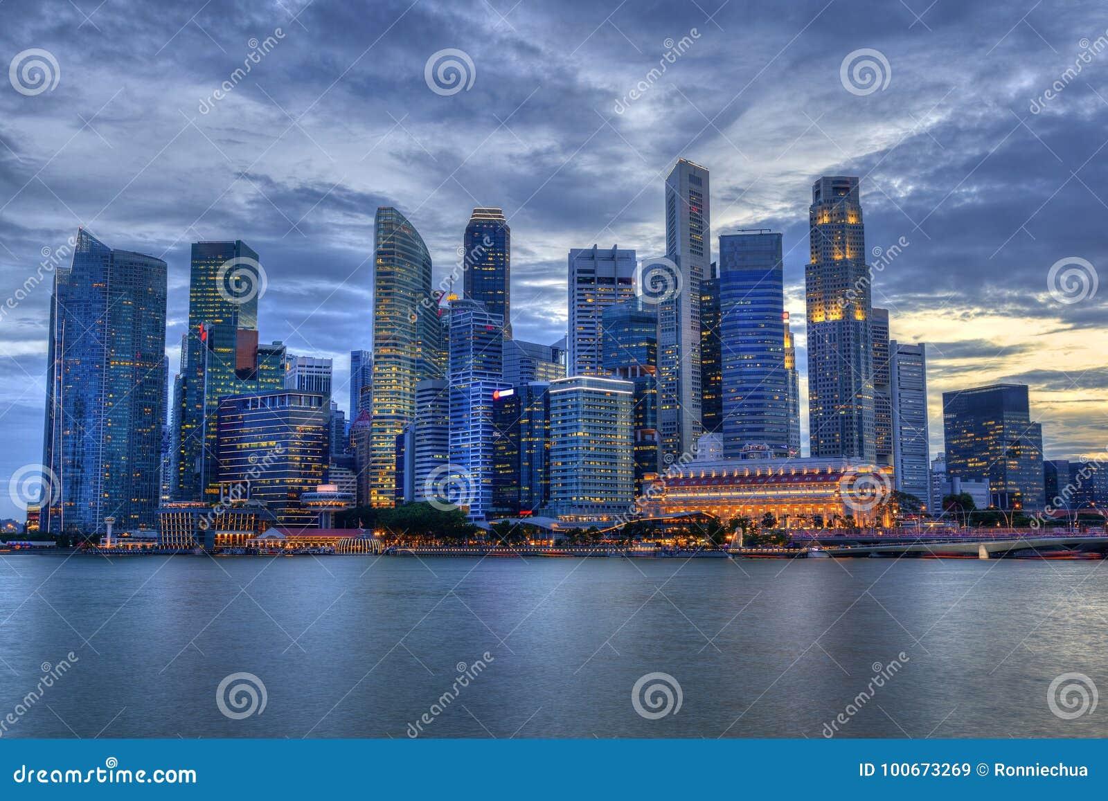 Singapore Skyline at Marina Bay During Sunset