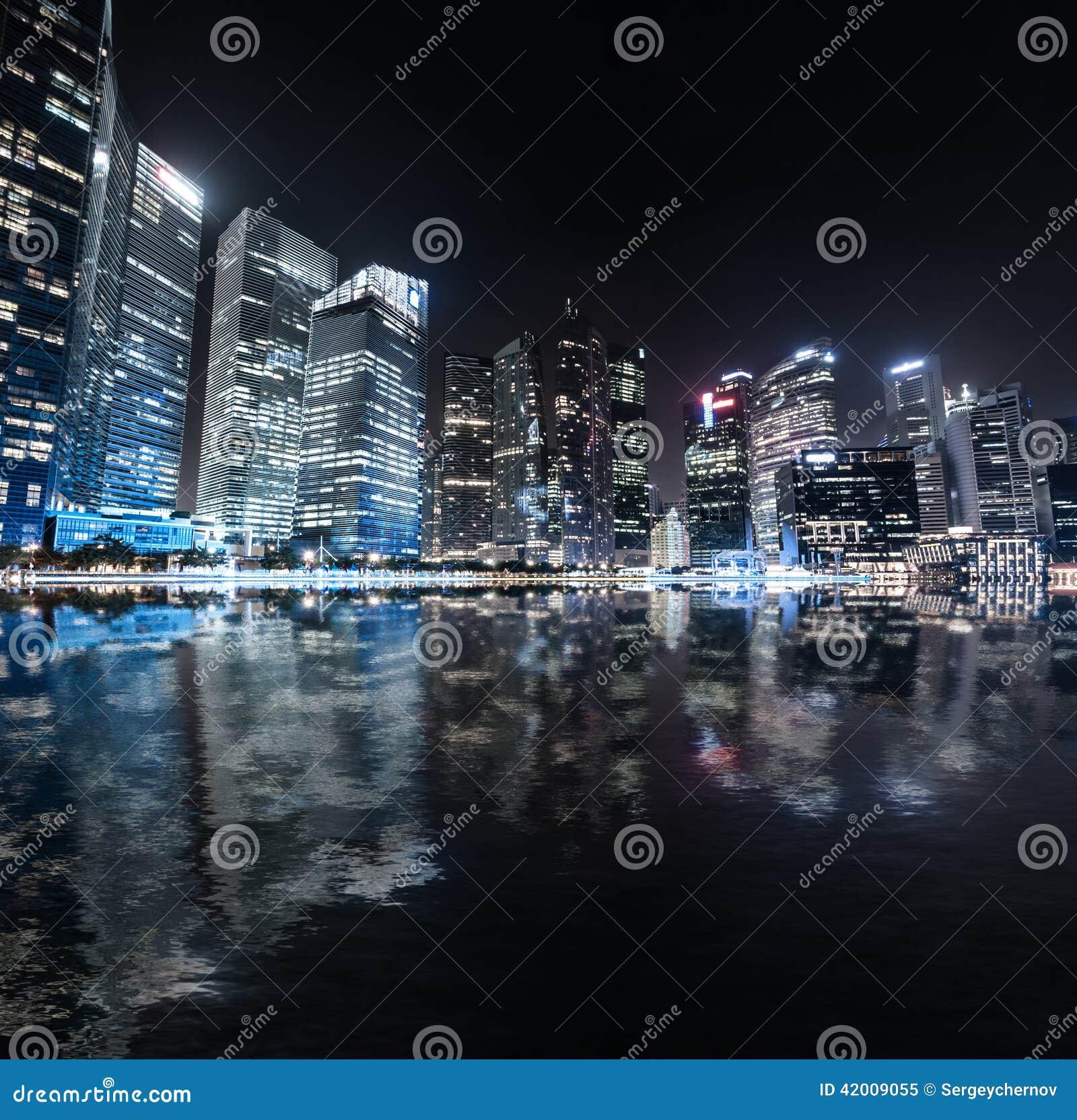 Urban View: Singapore Skyline Night Panorama. Modern Urban City View
