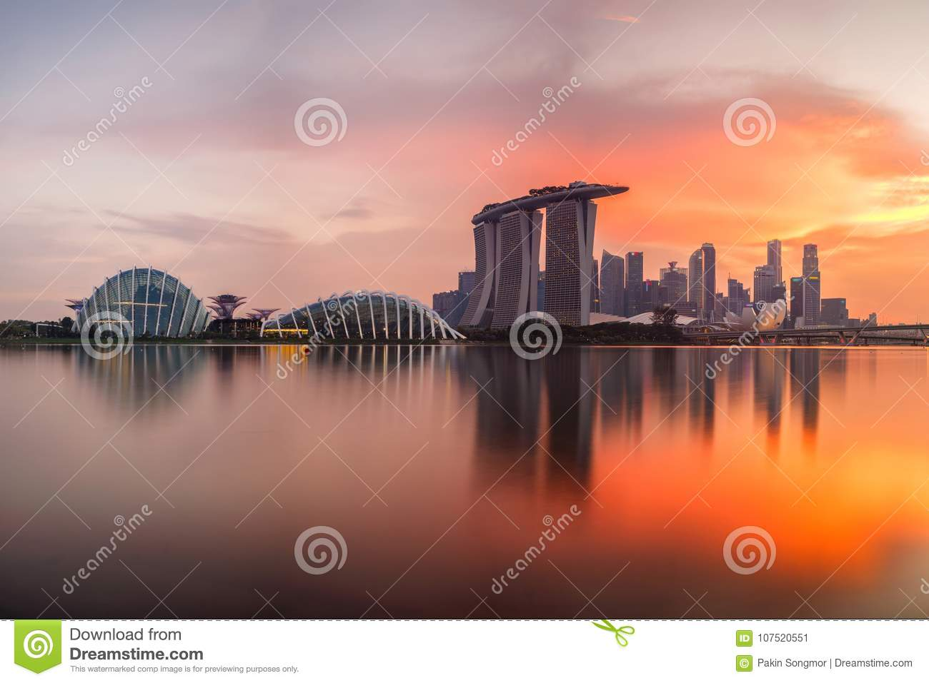 Singapore skyline at sunset time