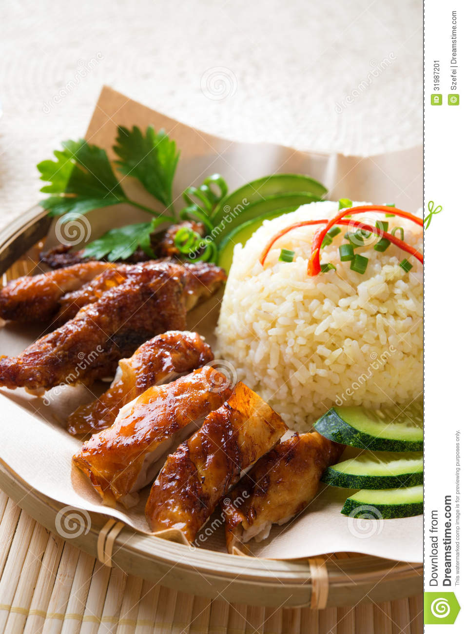 Singapore style hainan chicken rice stock image image for Asian cuisine singapore
