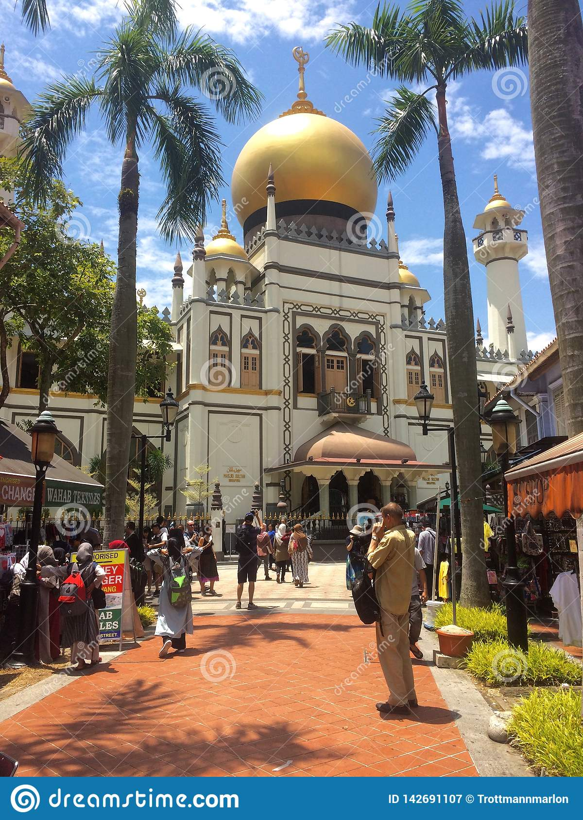View of the beautiful Mashjid Sultan Mosque of Singapore