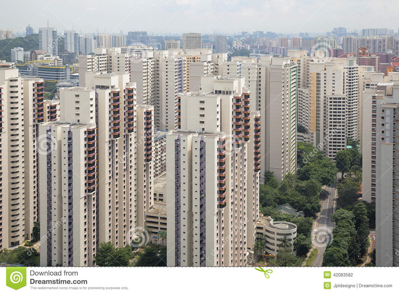 Singapore Typical Apartment Housing Buildings Stock Photo ...