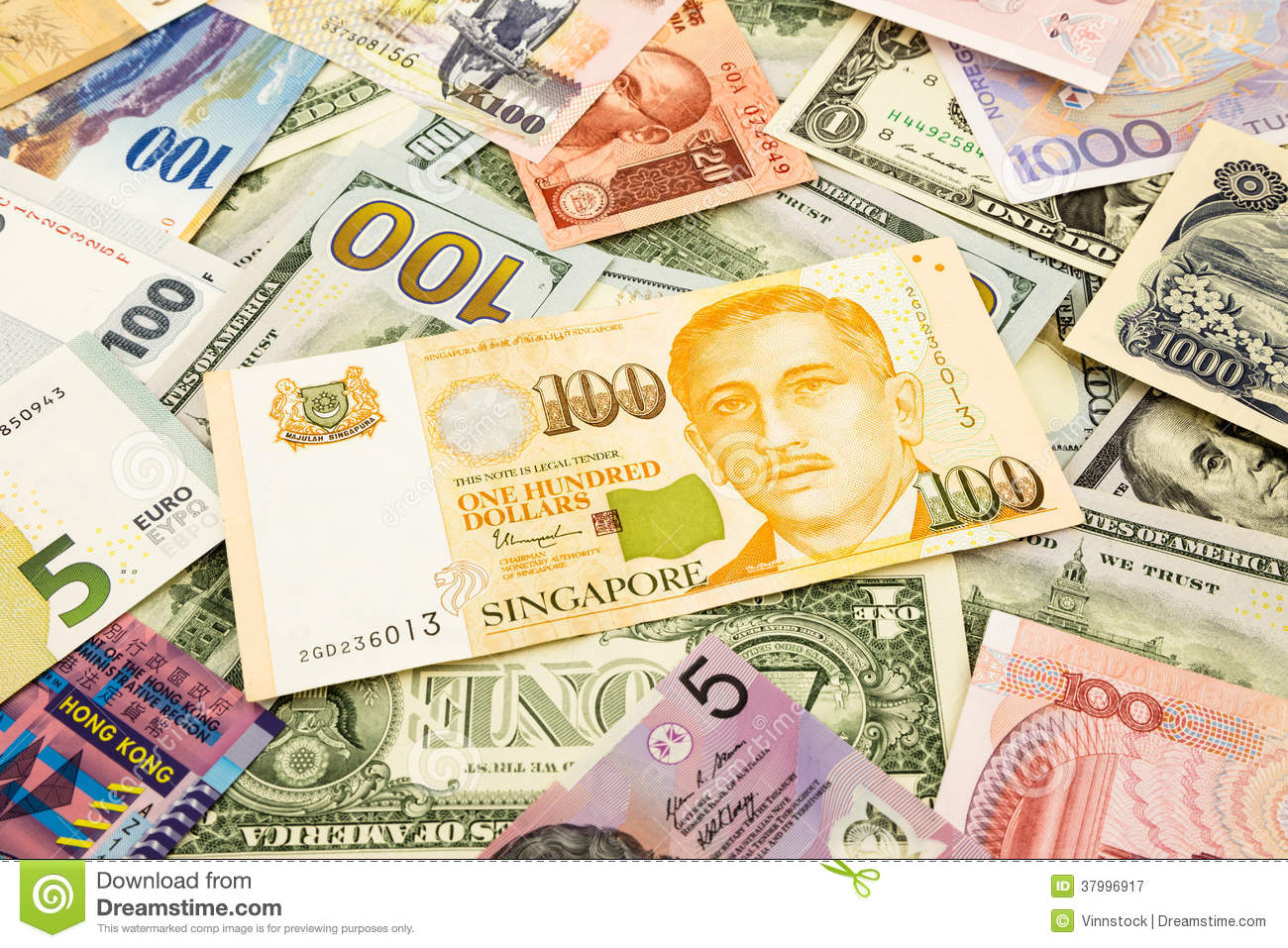 Singapore and world currency money banknote
