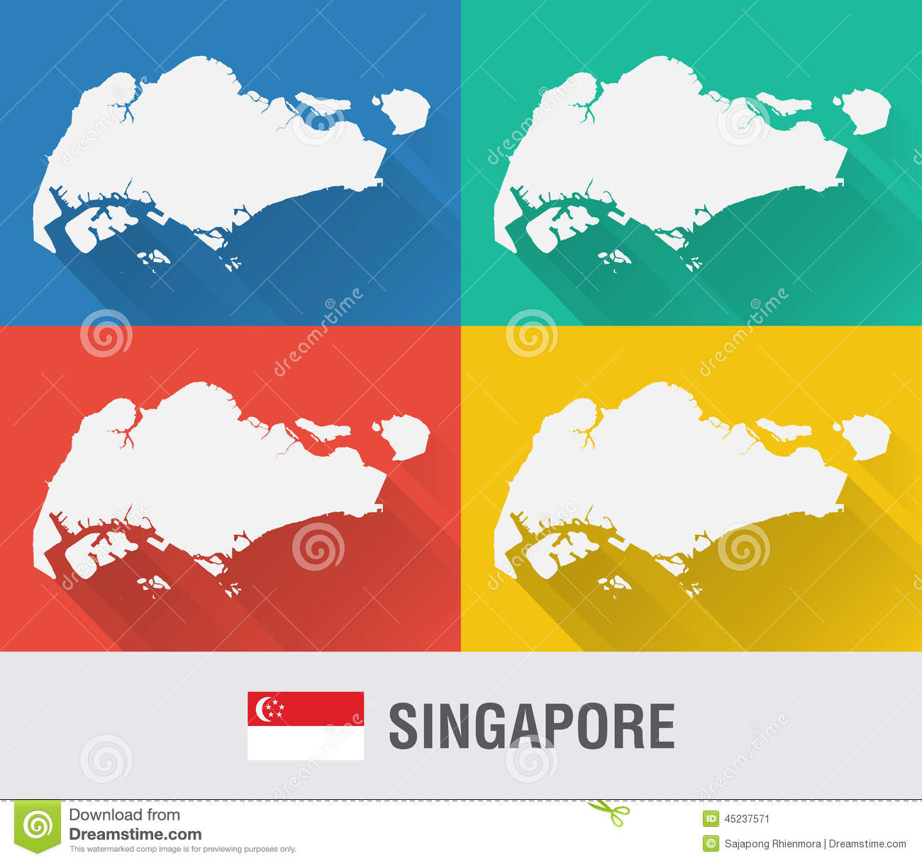 Singapore World Map In Flat Style With 4 Colors. Stock Image - Image ...