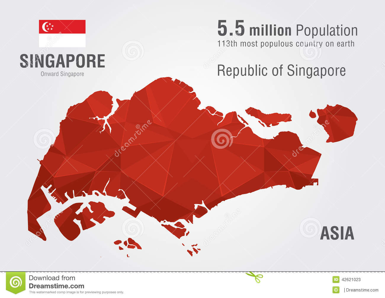 Singapore World Map With A Pixel Diamond Texture  Stock
