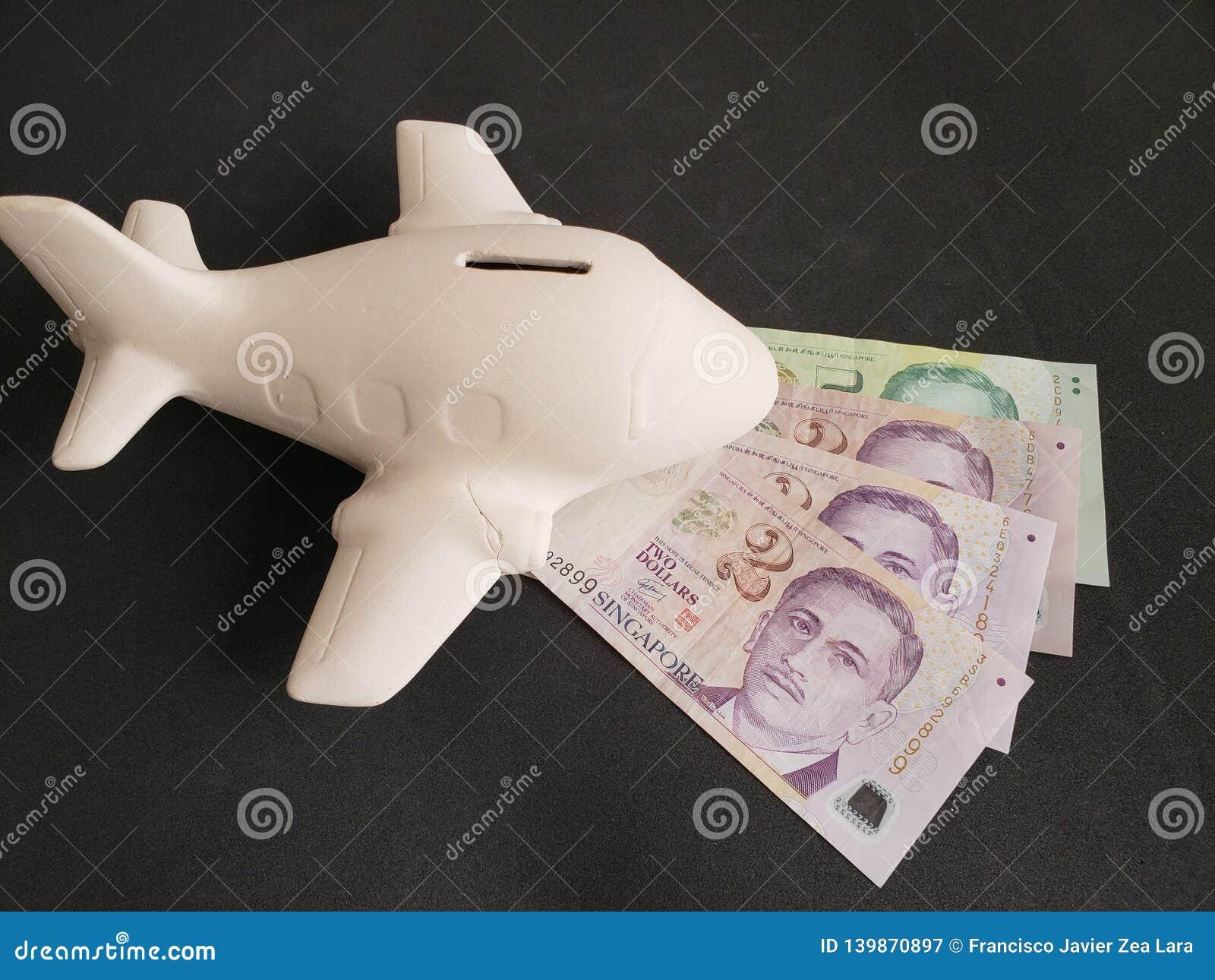 Singaporean sedlar och vitt keramiskt flygplan för loppbesparingar
