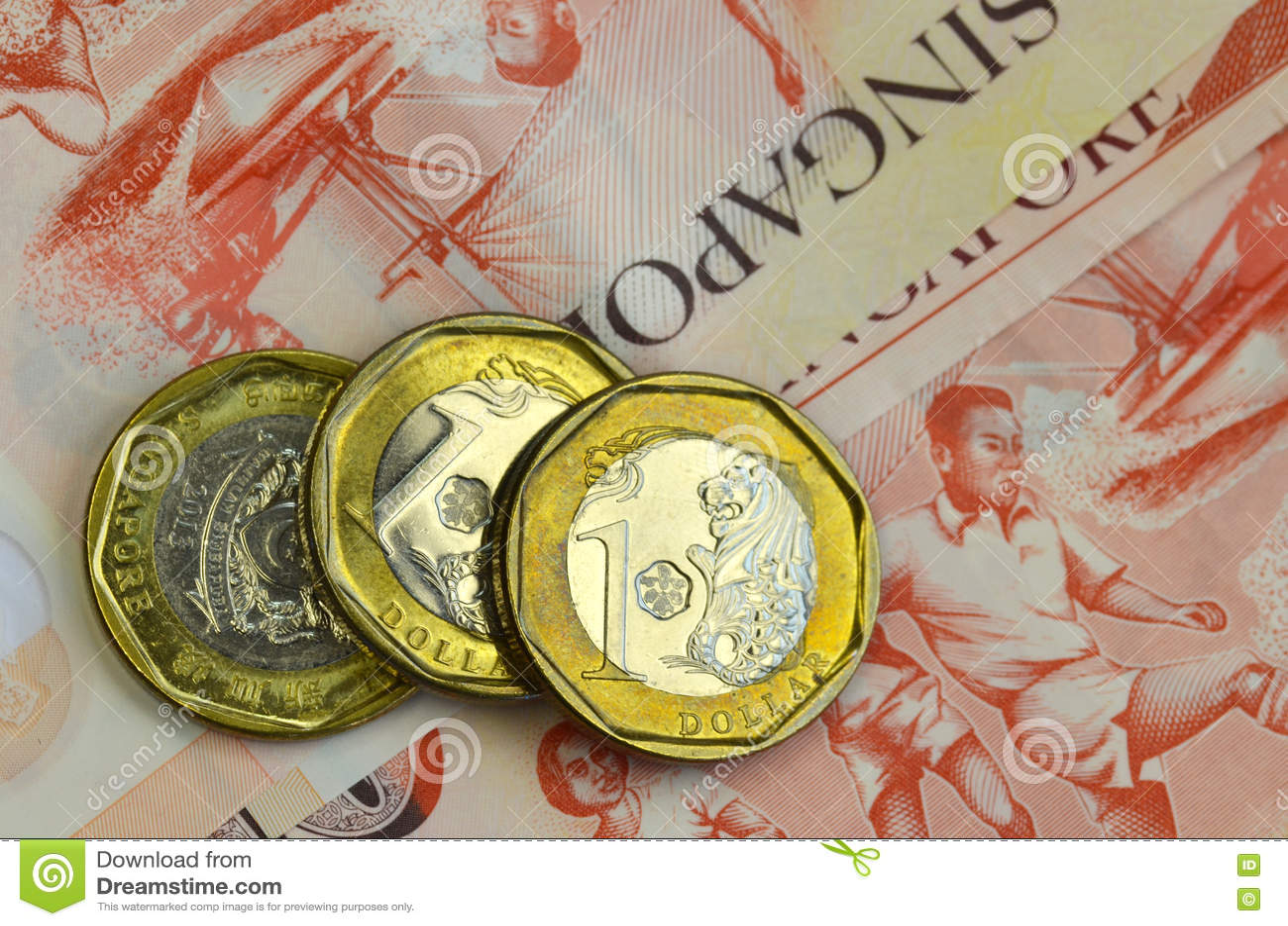 Singapur Geld Auf Weißem Hintergrund Stockbild Bild Von Singapur