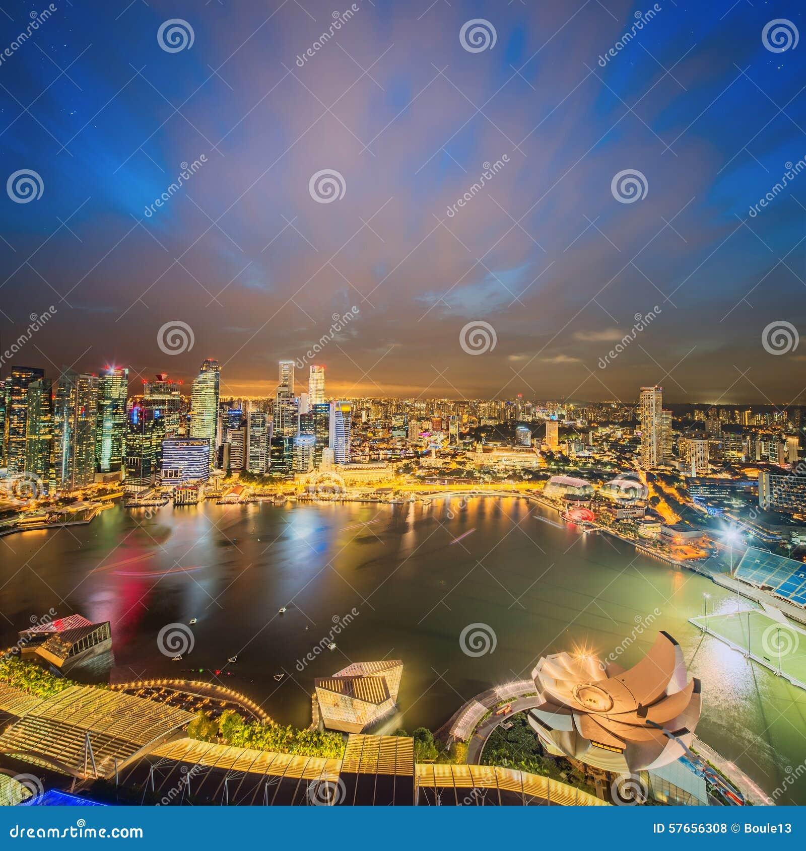 Singapur linia horyzontu i widok Marina zatoka