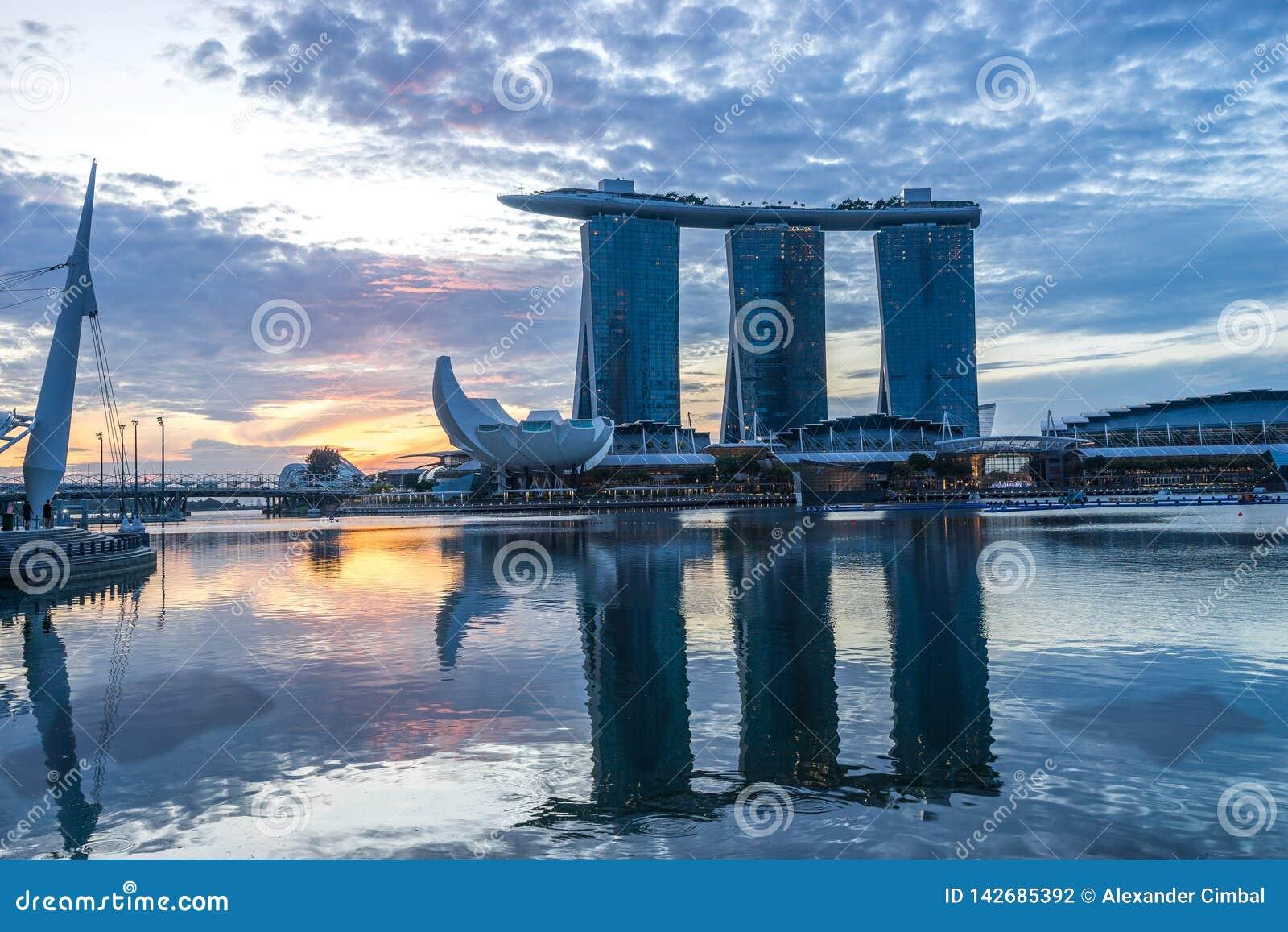 Singapur-, Singapur- - Marina Bay Sands-Hotel und das ArtScience-Museum