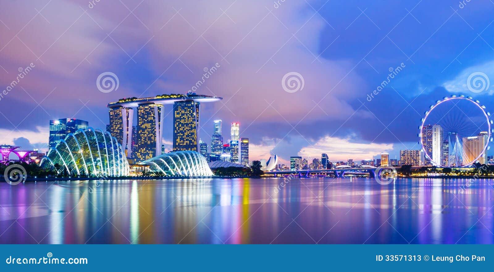 Singapur pejzaż miejski podczas zmierzchu