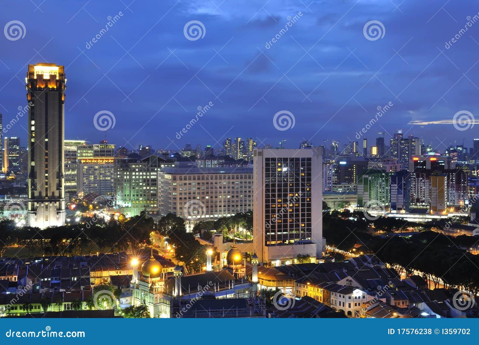 Singapur-Stadt an der blauen Stunde