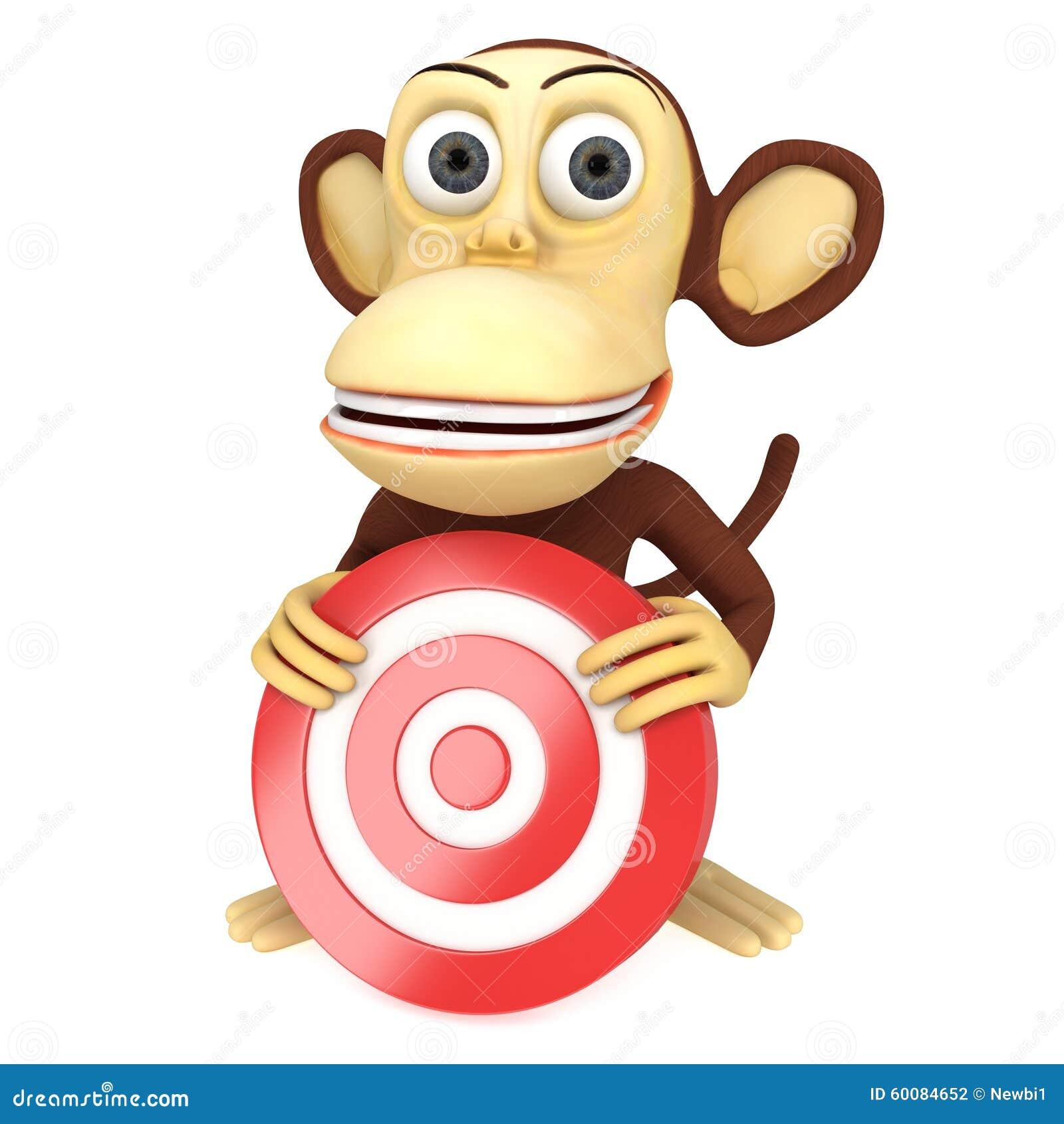 Singe 3d dr le avec la cible rouge de but illustration - Le singe d aladdin ...