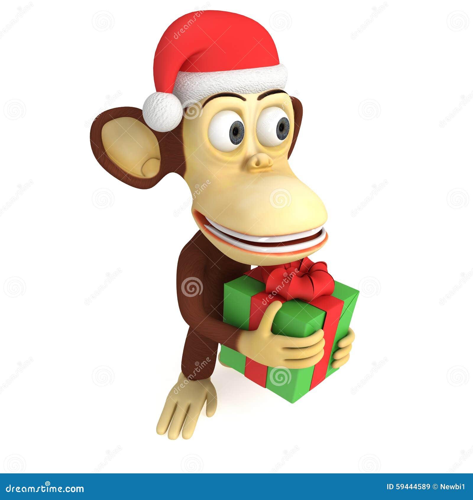 Singe 3d dr le avec le cadeau illustration stock image 59444589 - Cadeau utile et drole ...