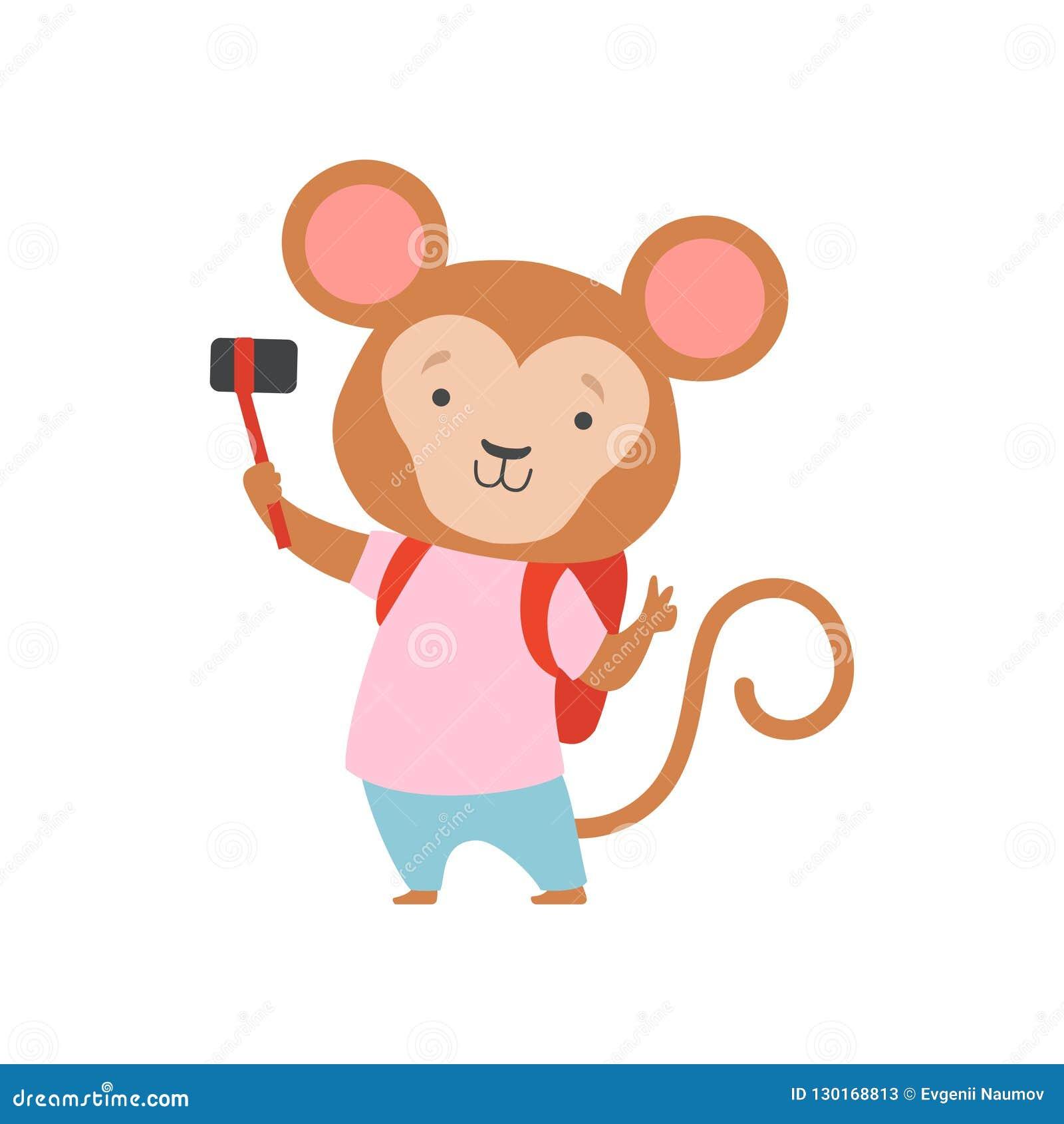 Singe de touristes gai avec la caméra de bacpack et de photo, personnage de dessin animé animal mignon voyageant des vacances d é