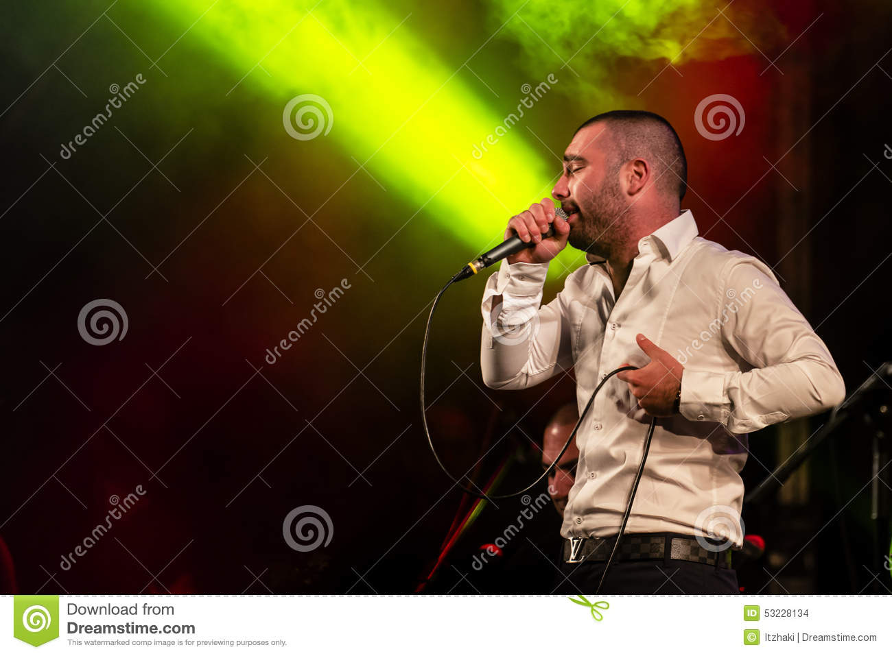 Singer Omer Adam performs editorial stock image  Image of