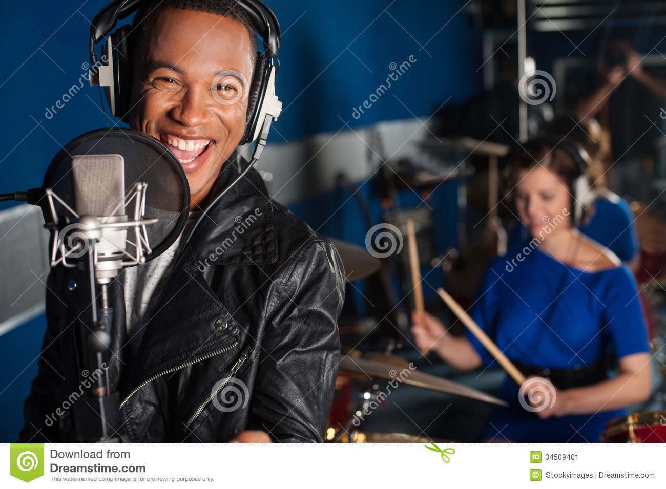 Singer Recording A Song In Studio Stock Image - Image of equipment