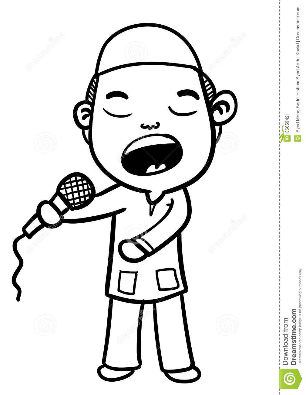 Sketch of boy singing with passion and grab the microphone.