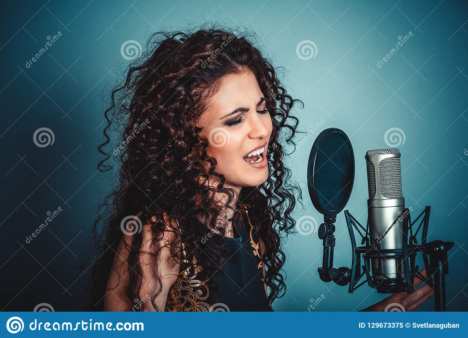 Singer. Woman lady girl singing with microphone singing