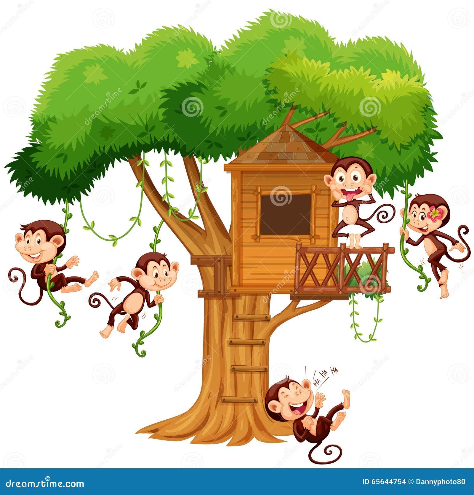 Singes jouant à la cabane dans un arbre