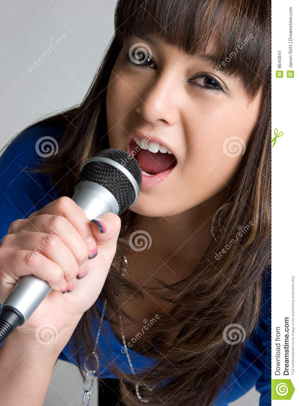 singing asian girl stock image   image 8640941