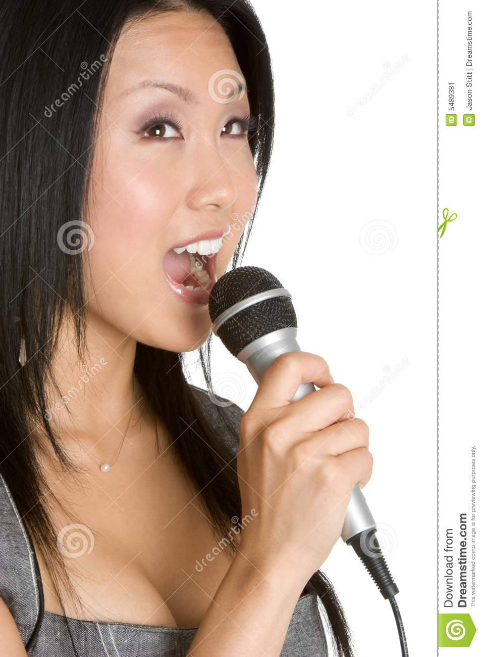 singing asian woman stock image   image 5489381