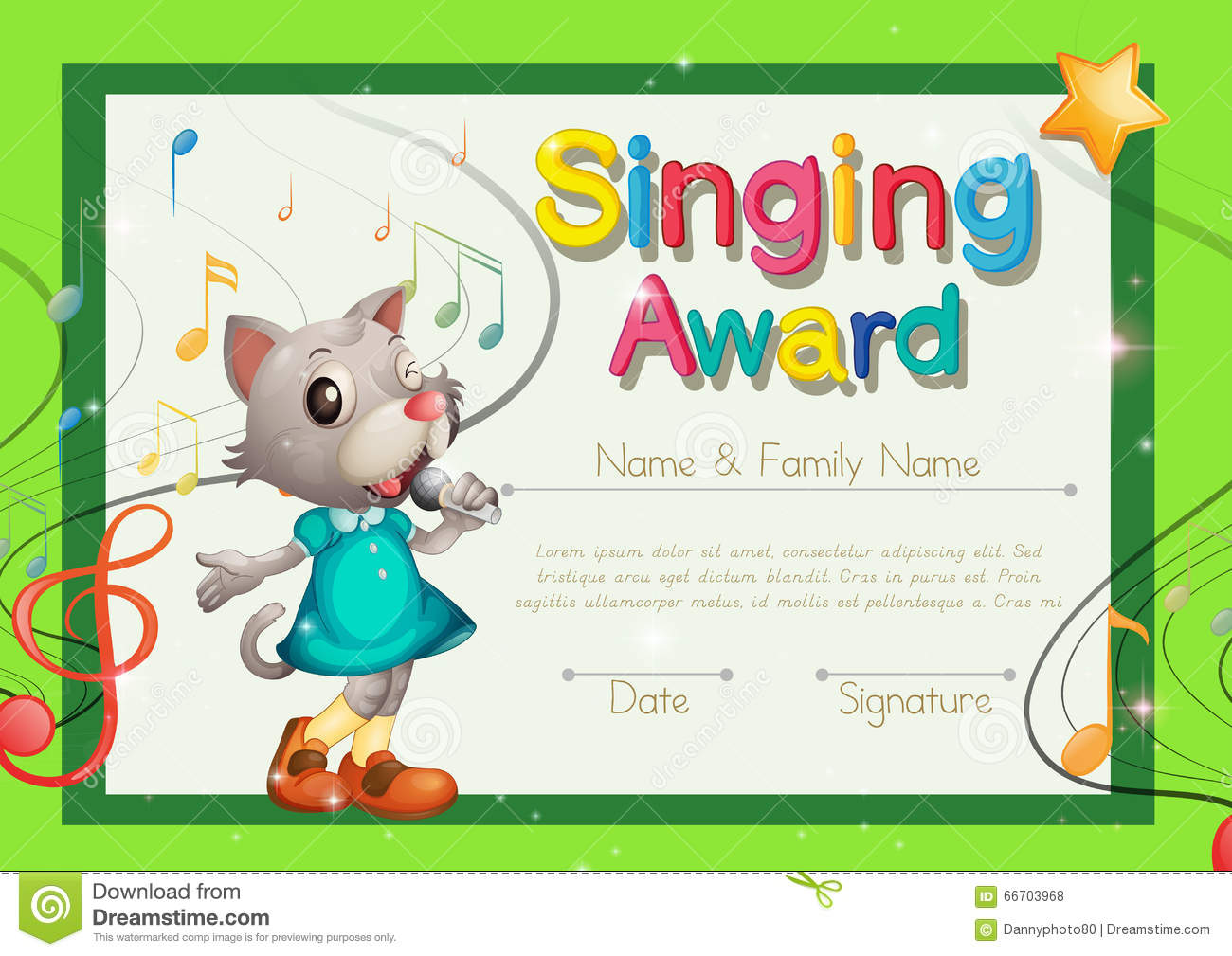 Singing Award Certificate Template Stock Vector - Image: 66703968