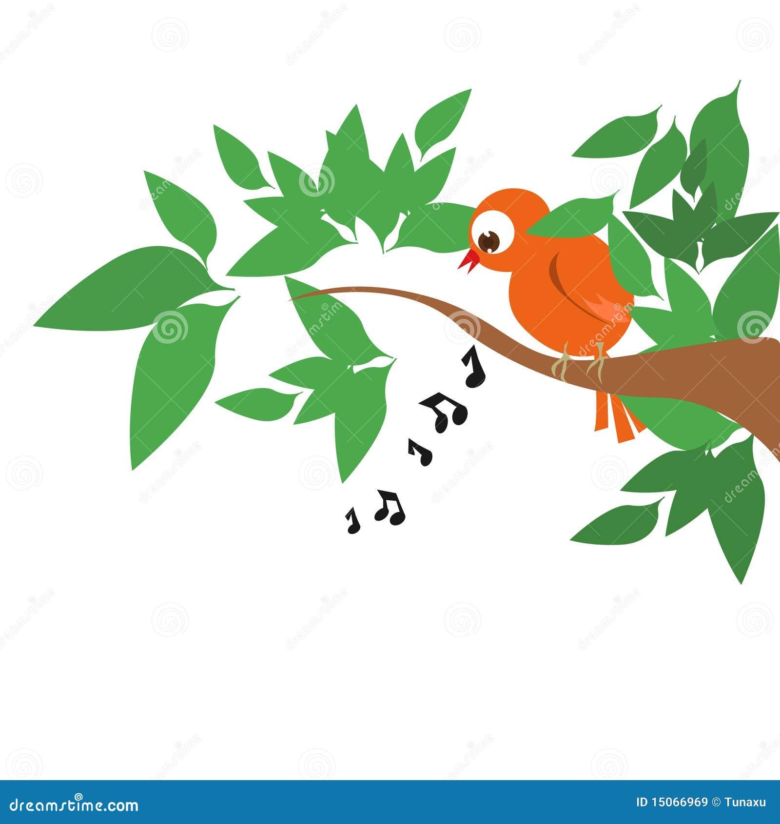 Singing bird on tree