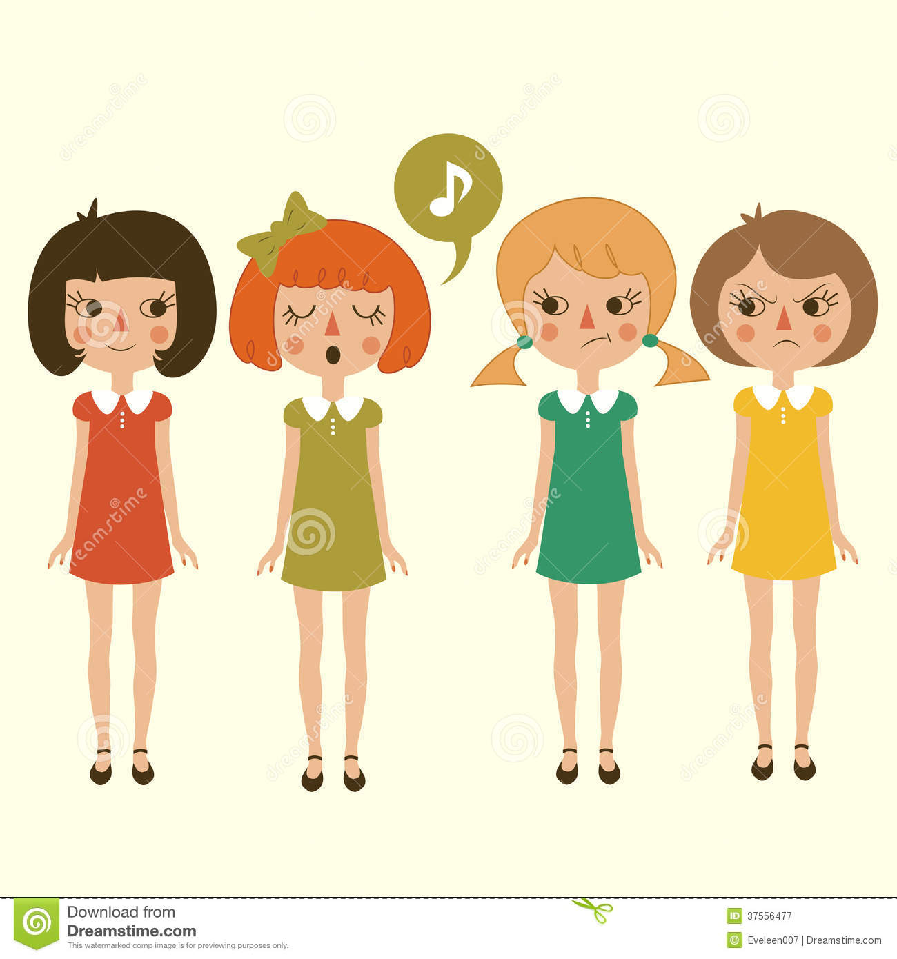 4 Girl Cartoon Characters : Singing cartoon girls character stock vector