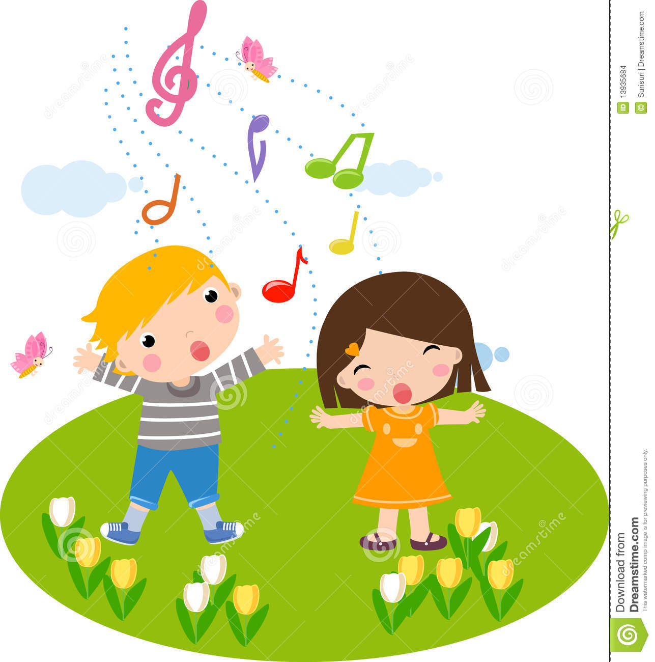 Singing Children Stock Images - Image: 13935684