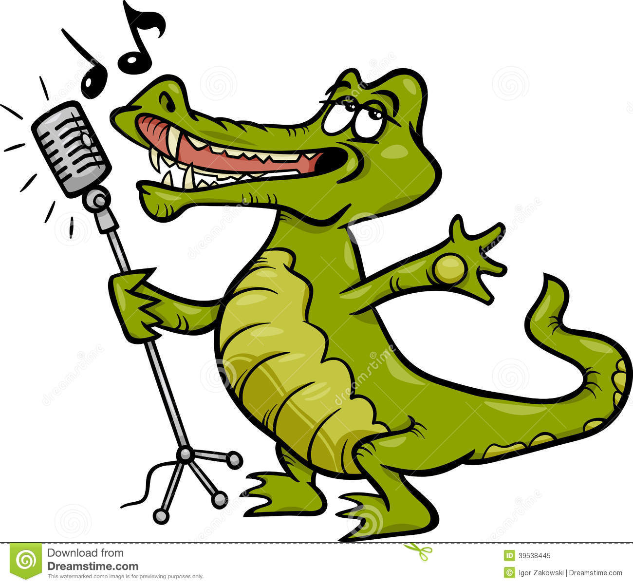 Singing Crocodile Cartoon Illustration Stock Vector - Image: 39538445