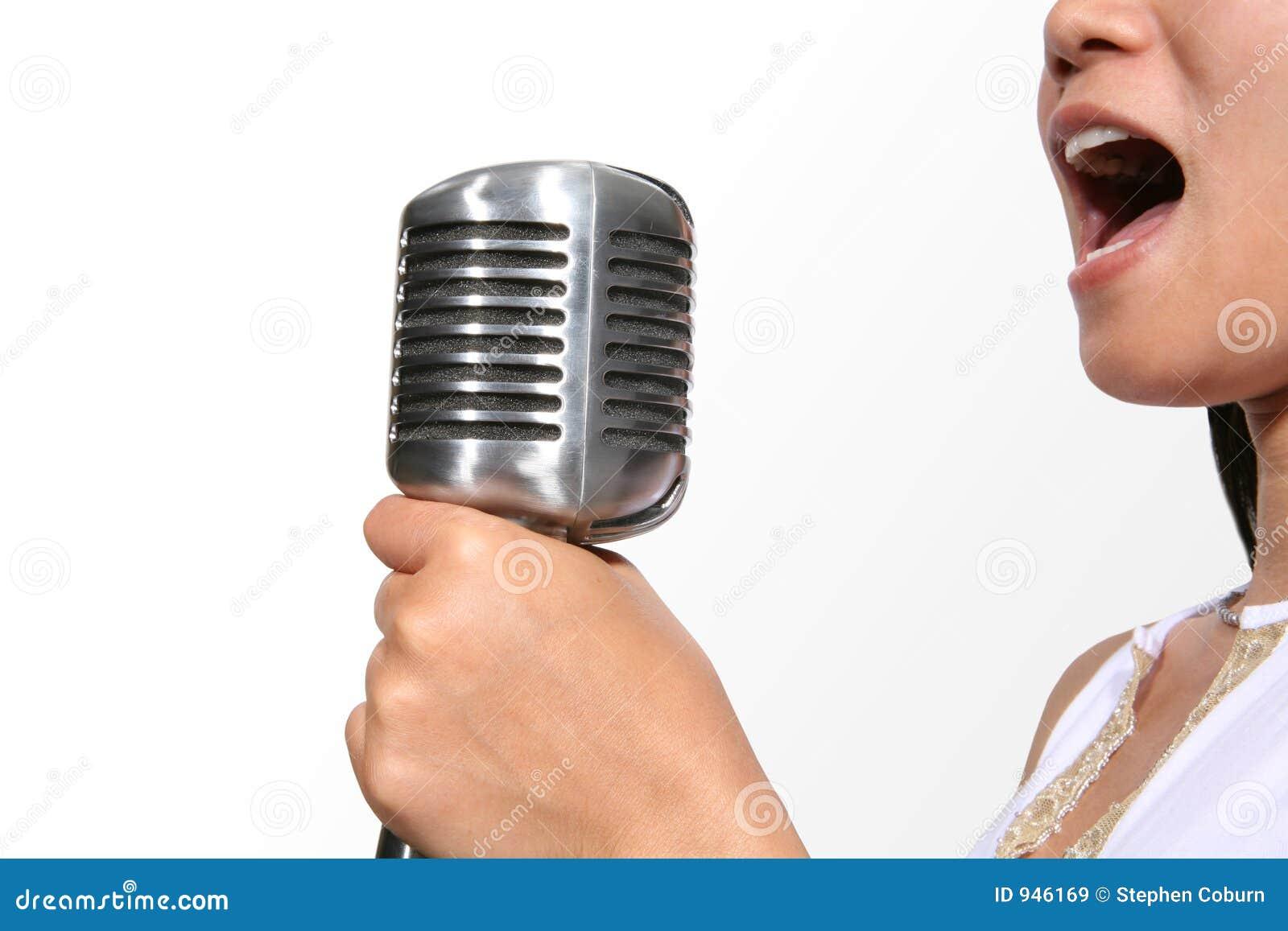 Singing (Focus on Microphone)