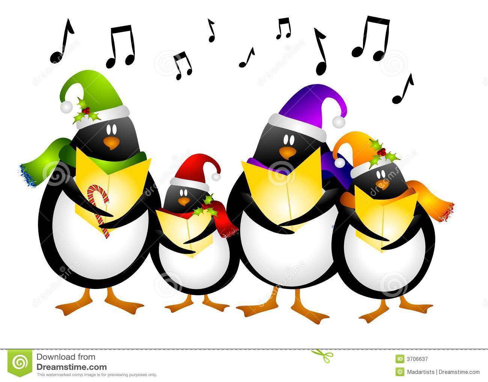 Singing Penguin Christmas Carolers Stock Illustration ...