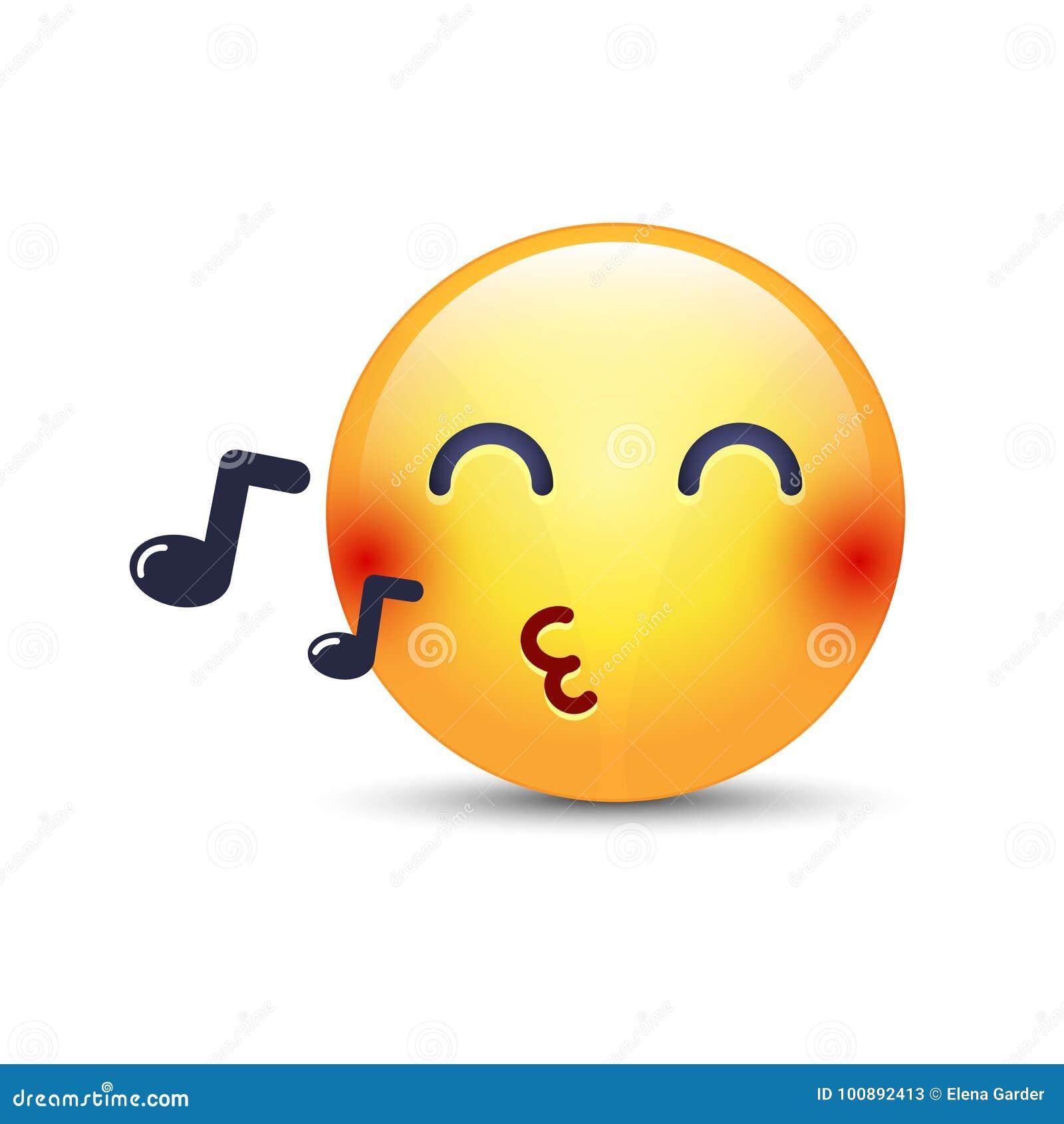 Singing Smiley Face. Emoji Whistles A Song. Cartoon Vector Emoticon ...