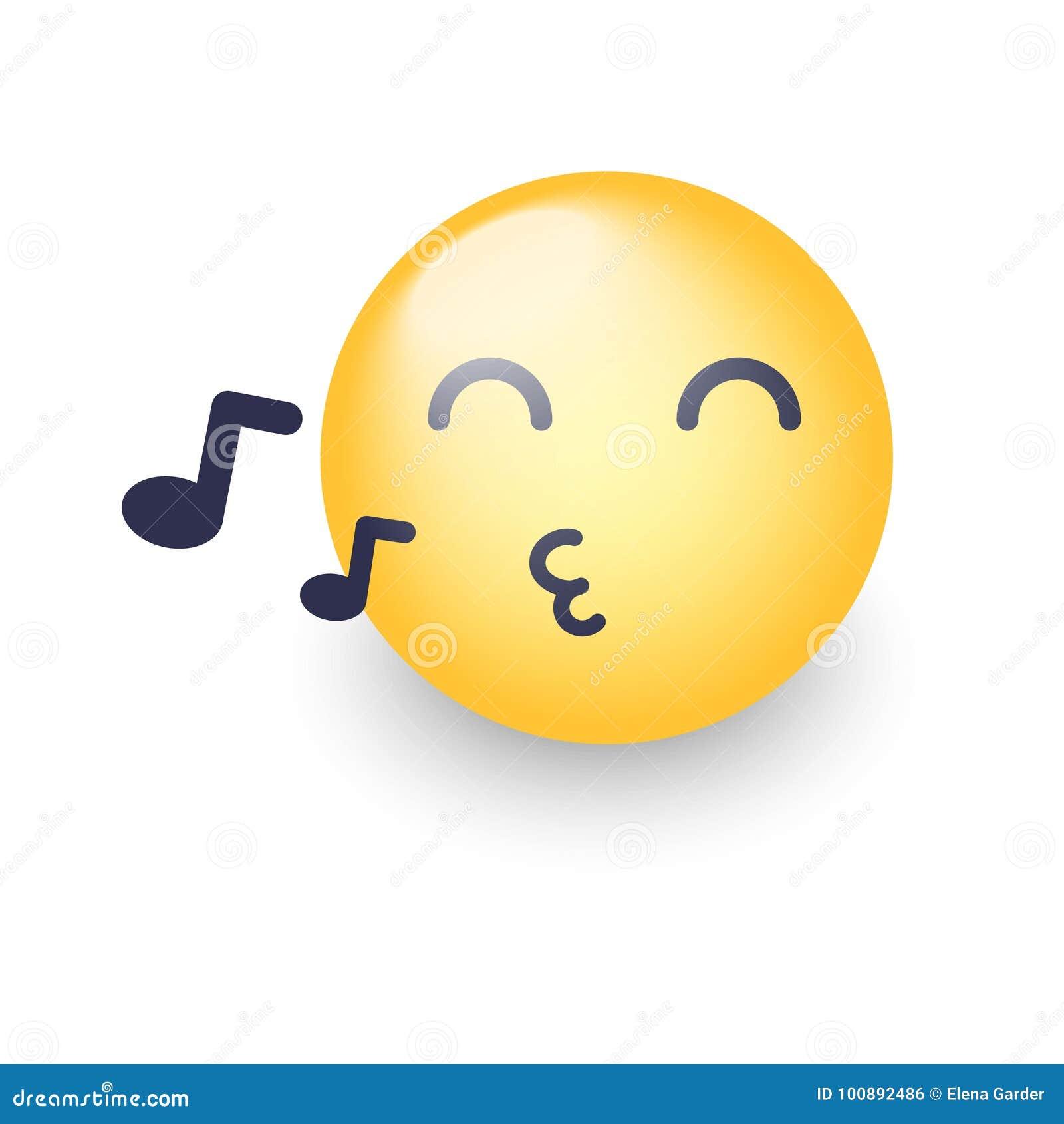 Singing Smiley Face Emoji Whistles A Song Cartoon Vector Emoticon
