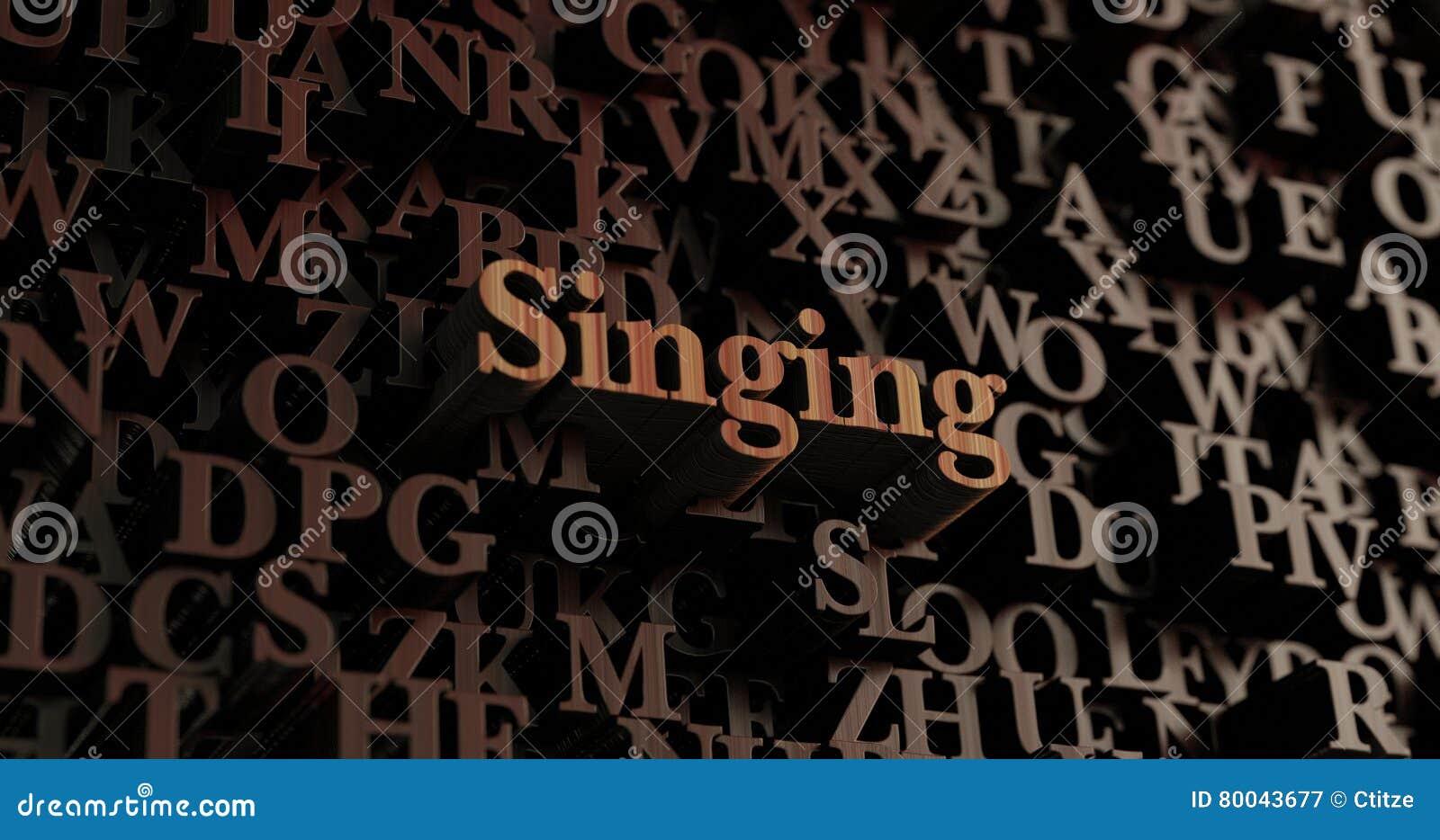 singing wooden 3d rendered letters message stock illustration