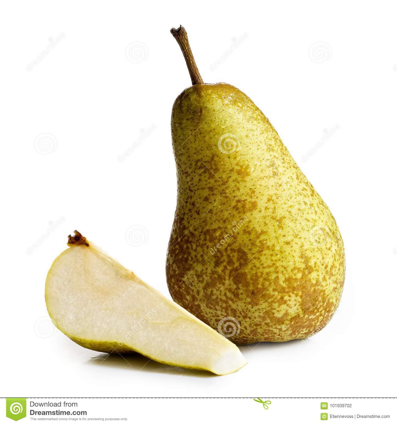 Single abate fetel pear next to a slice of pear isolated on whit