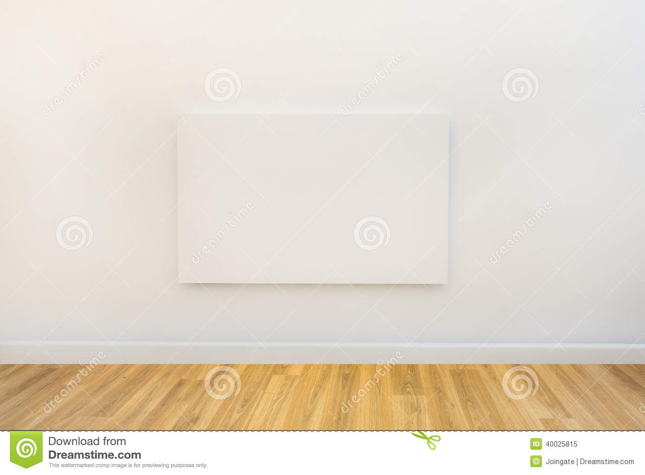Single Art Canvas In An Empty Gallery Space Stock