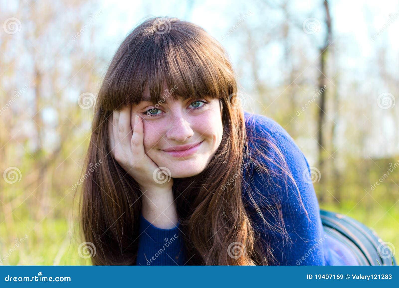 Single beautiful woman relaxing outdoor