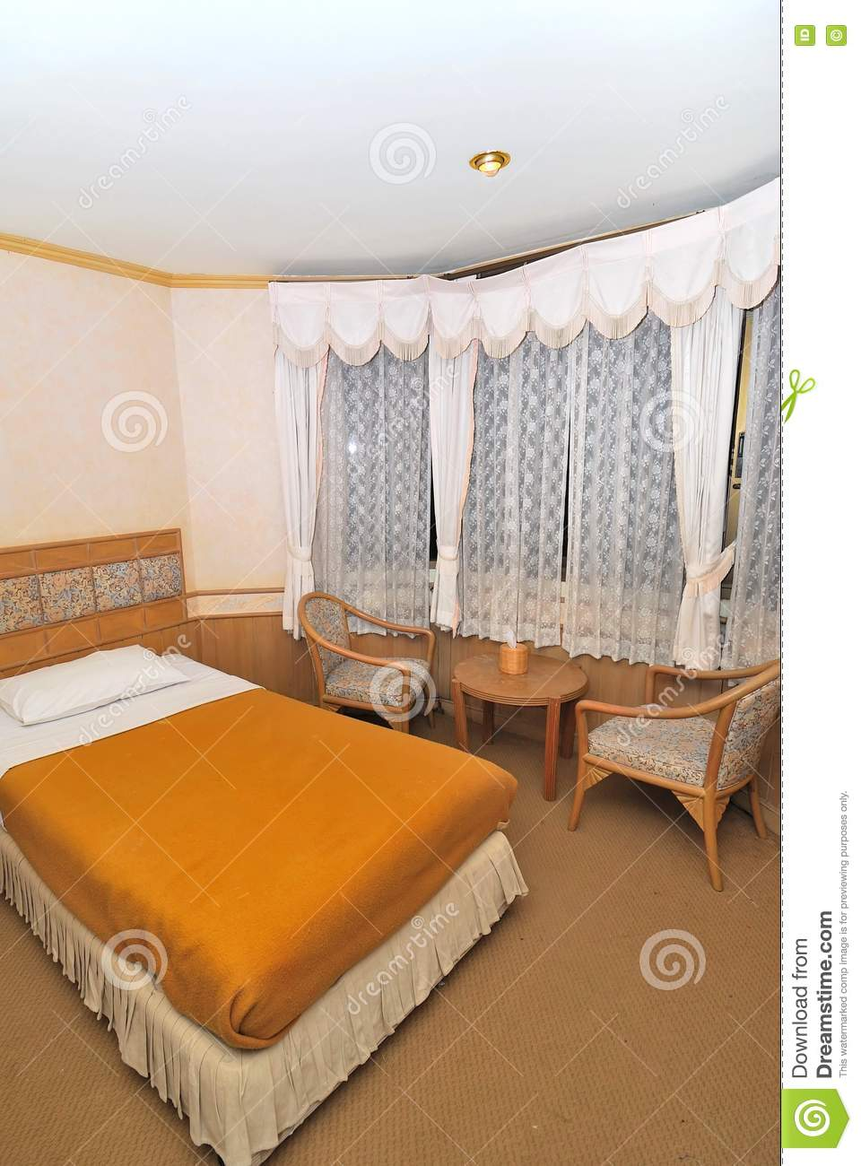 Hotel Room Furniture: Single Bed In Hotel Room With Furniture Stock Photo