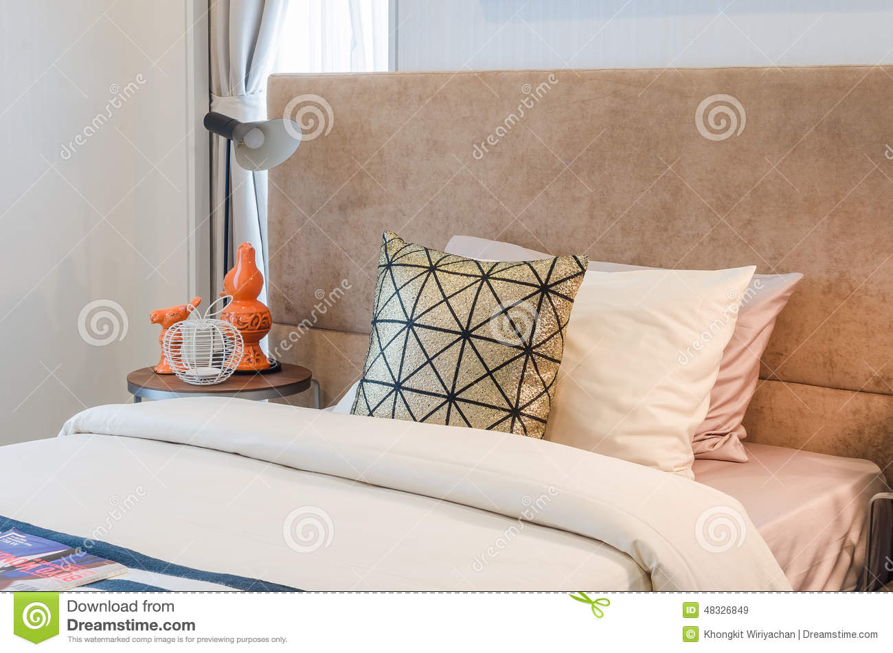 Single Bed With Pillows In Bedroom Stock Image - Image: 48326849