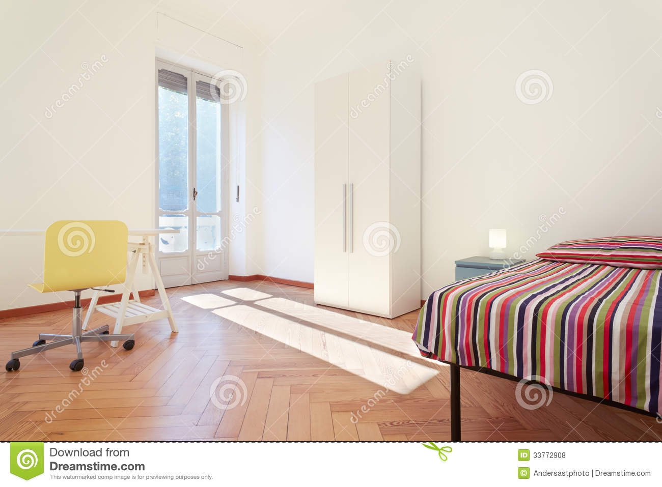 Single Bedroom Simple Interior Design Royalty Free Stock