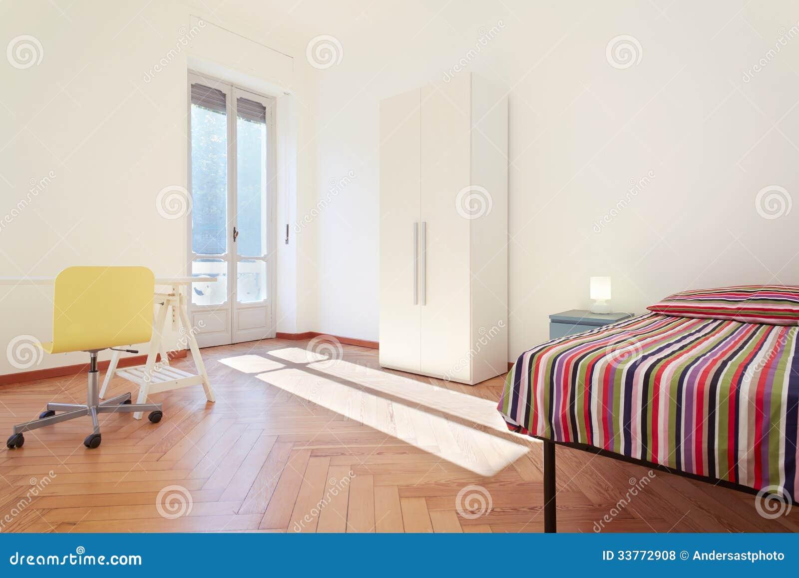 Single Bedroom, Simple Interior Design Royalty Free Stock