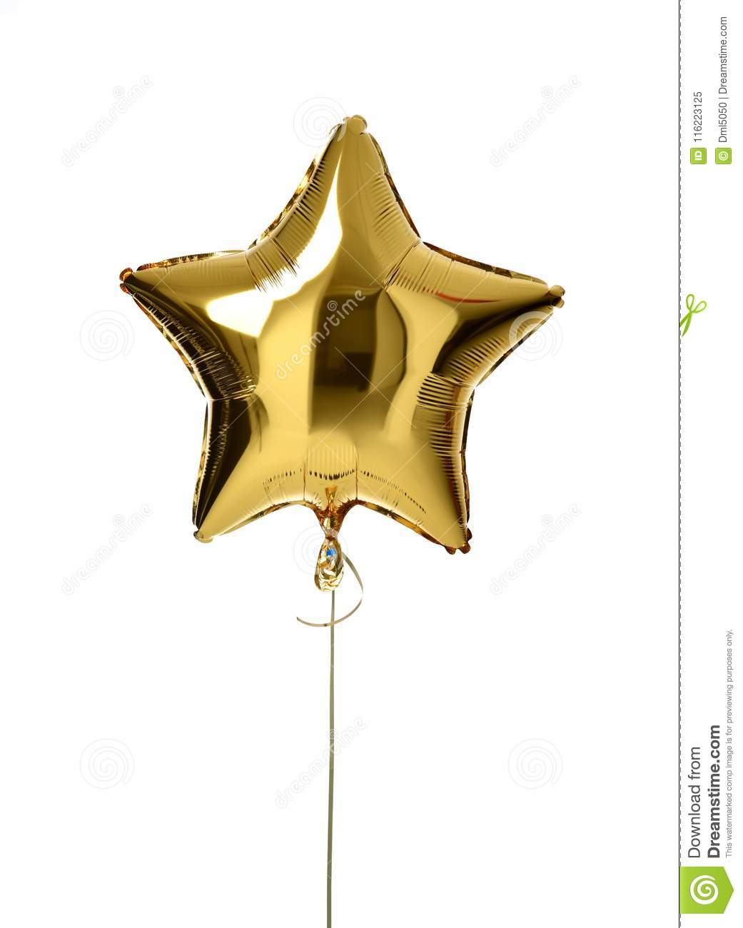 Single big gold star balloon object for birthday party