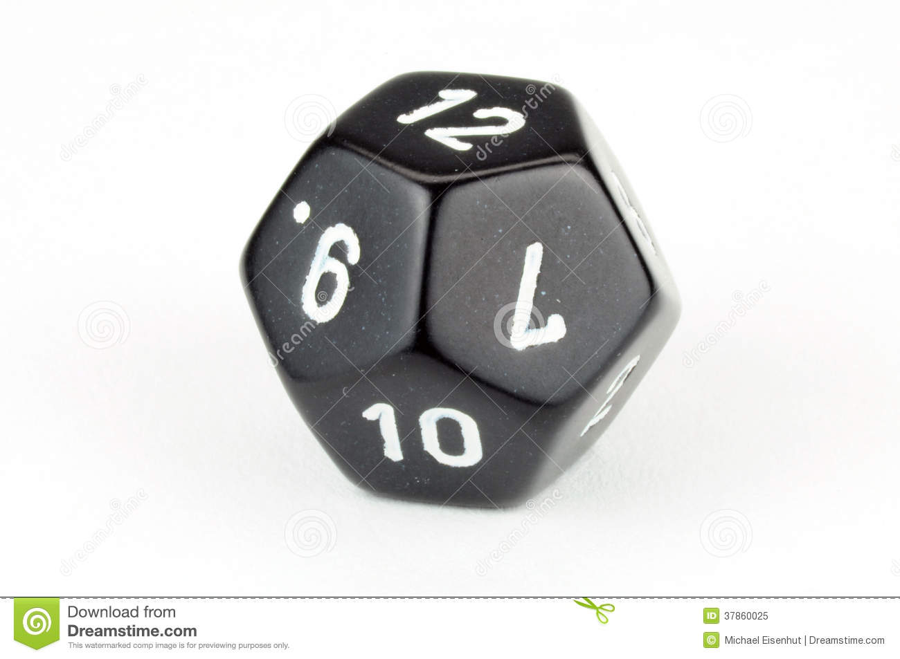 single black 12 sided die on white stock image image of odds