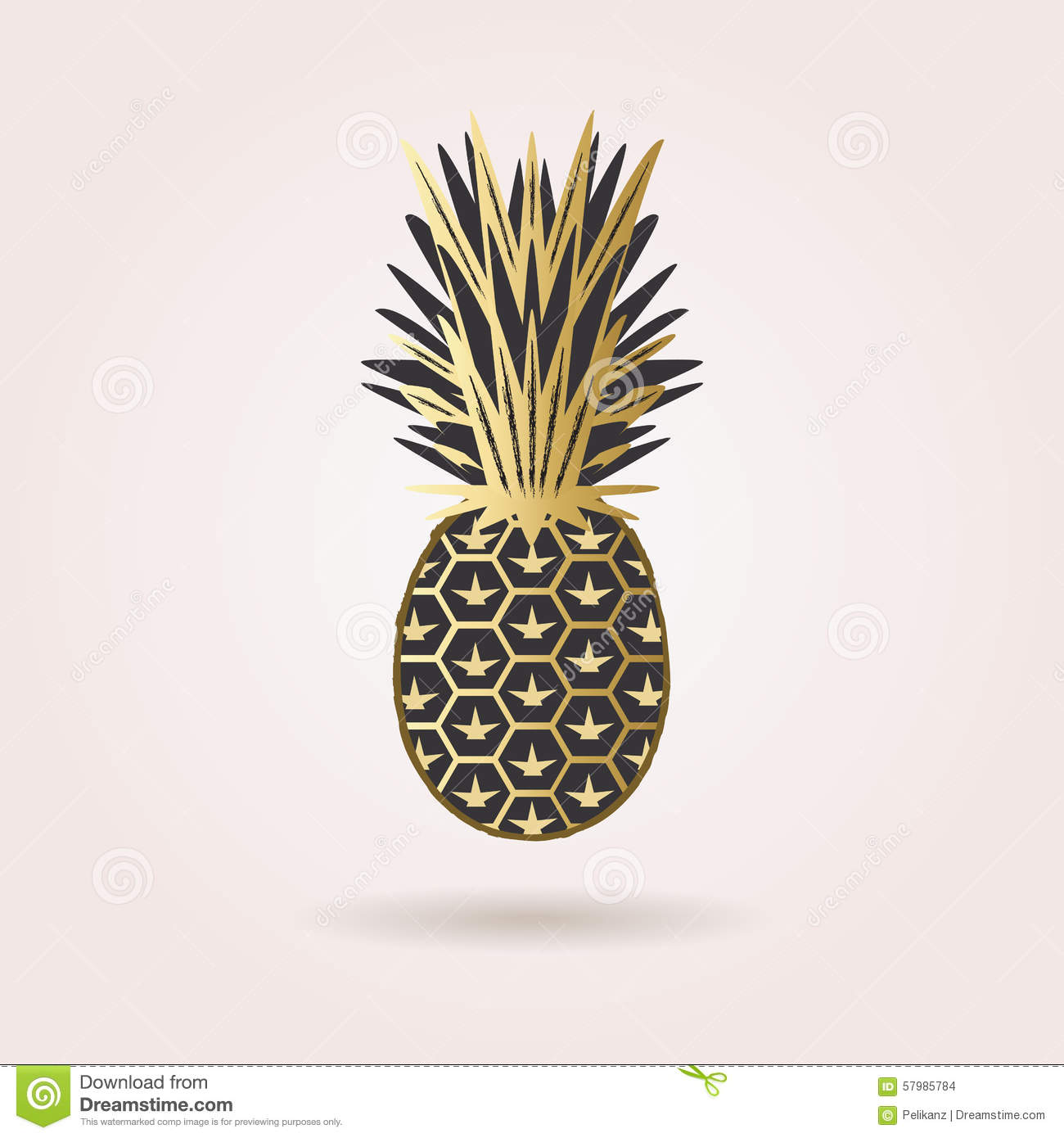 Single Black And Golden Abstract Pineapple Icon Stock