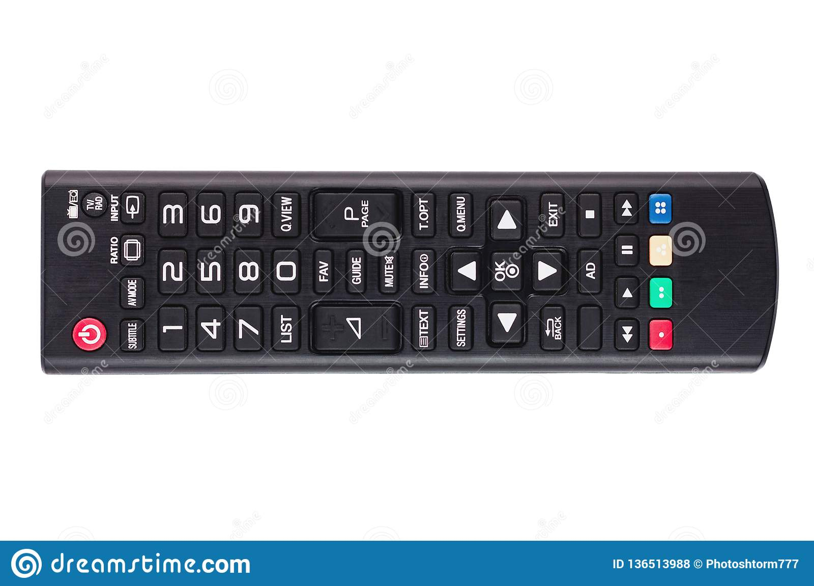 Single black plastic remote control for different multimedia devices isolated on white background